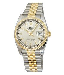 Rolex Oyster Perpetual Datejust 36 Silver Dial Stainless Steel and 18K Yellow Gold Jubilee Bracelet Automatic Men's Watch
