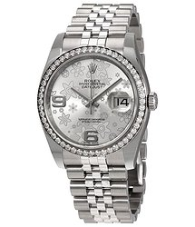 Rolex Oyster Perpetual Datejust 36 Silver Floral Dial Stainless Steel Jubilee Bracelet Automatic Ladies Watch