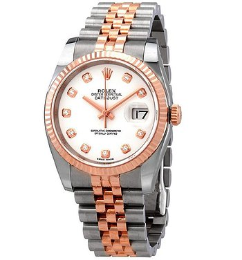 Купить часы Rolex Oyster Perpetual Datejust 36 White Dial Stainless Steel and 18K Everose Gold Jubilee Bracelet Automatic Men's Watch  в ломбарде швейцарских часов