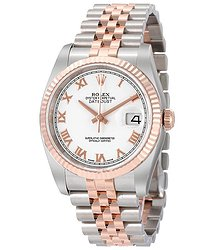 Rolex Oyster Perpetual Datejust 36 White Dial Stainless Steel and 18K Everose Gold Jubilee Bracelet Automatic Men's Watch