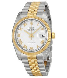 Rolex Oyster Perpetual Datejust 36 White Dial Stainless Steel and 18K Yellow Gold Jubilee Bracelet Automatic Men's Watch 116233WRJ