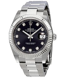 Rolex Oyster Perpetual Datejust Black Diamond Dial Men's Watch