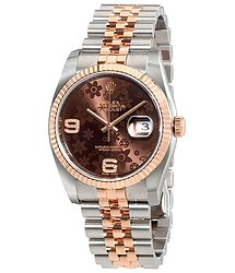 Rolex Oyster Perpetual Datejust Chocolate Floral Motif Dial Automatic Ladies Stainless Steel and 18kt Everose Gold Watch
