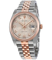Rolex Oyster Perpetual Datejust Silver Dial Stainless Steel 18K Everose Gold Diamond Ladies Watch 116201SDJ