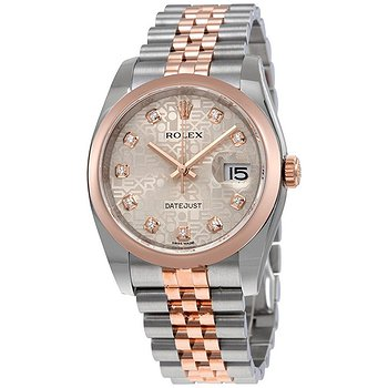 Купить часы Rolex Oyster Perpetual Datejust Silver Dial Stainless Steel 18K Everose Gold Diamond Ladies Watch 116201SDJ  в ломбарде швейцарских часов