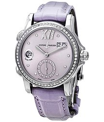 Ulysse Nardin Classic Dual Time Purple Diamond Dial Automatic Ladies Watch