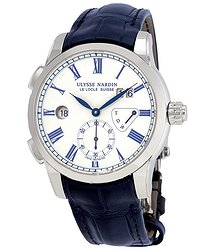 Ulysse Nardin Classic Dual Time White Enamel Dial Men's Watch