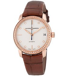 Ulysse Nardin Classico Eggshell White Diamond Dial 18kt Rose Gold Brown Leather Ladies Watch