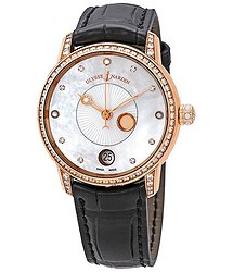 Ulysse Nardin Classico Luna White Mother of Pearl Dial Alligator Leather Automatic Ladies Watch