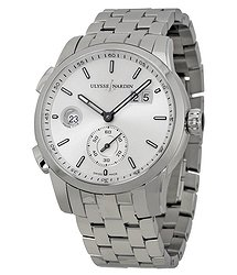 Ulysse Nardin Dual Time Automatic Silver Dial Stainless Steel Men's Watch 3343-126-7-91