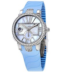 Ulysse Nardin Executive Dual Time Automatic Blue Mother Of Pearl Diamond Dial Ladies Rubber Watch