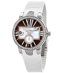 Ulysse Nardin Executive Dual Time Automatic Brown Diamond Dial Ladies Rubber Watch