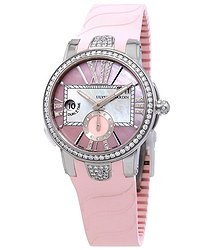 Ulysse Nardin Executive Dual Time Automatic Pink Mother Of Pearl Diamond Dial Ladies Rubber Watch