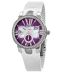 Ulysse Nardin Executive Dual Time Automatic Purple Diamond Dial Ladies Rubber Watch