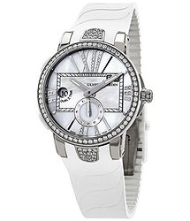 Ulysse Nardin Executive Dual Time Automatic White Mother Of Pearl Diamond Dial Ladies Rubber Watch