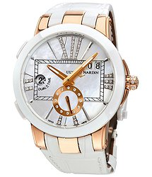 Ulysse Nardin Executive Dual Time Mother of Pearl Diamond Dial 18kt Rose Gold White Leather Ladies Watch 246-10-391