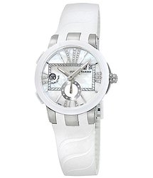Ulysse Nardin Executive Dual Time Mother of Pearl Diamond Dial Stainless Steel White Rubber Ladies Watch