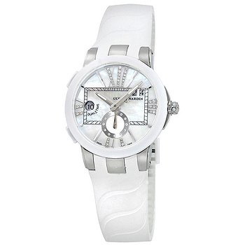 Купить часы Ulysse Nardin Executive Dual Time Mother of Pearl Diamond Dial Stainless Steel White Rubber Ladies Watch  в ломбарде швейцарских часов
