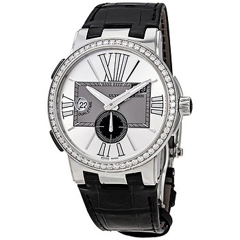 Купить часы Ulysse Nardin Executive Dual Time Silver Dial Diamond Bezel Black Leather Men's Watch 243-00B-421  в ломбарде швейцарских часов