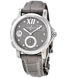 Ulysse Nardin GMT Big Date Grey Dial Stainless Steel Grey Leather Ladies Watch 243-22-30-02