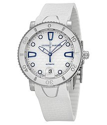 Ulysse Nardin Lady Marine Diver Mother of Pearl White Rubber Automatic Ladies Watch 8103-101-3-00