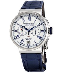 Ulysse Nardin Marine Annual Calendar Chronograph Automatic Men's Leather Watch