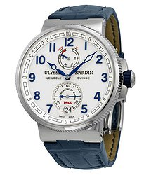 Ulysse Nardin Marine Automatic Chronometer White Dial Blue Leather Men's Watch 1183-126-60