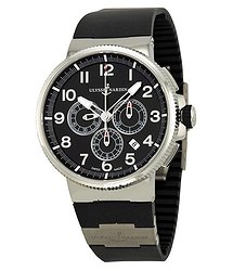Ulysse Nardin Marine Chronograph Black Dial Black Rubber Men's Watch 1503-150-3-62
