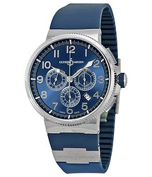 Ulysse Nardin Marine Chronograph Metallic Blue Dial Blue Rubber Men's Watch