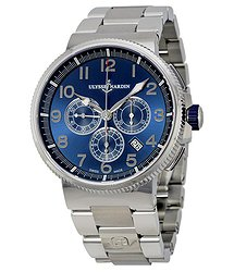 Ulysse Nardin Marine Chronograph Metallic Blue Dial Stainless Steel Men's Watch