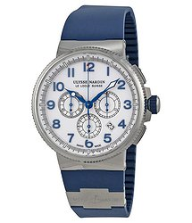 Ulysse Nardin Marine Chronograph White Dial Blue Rubber Men's Watch