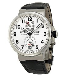 Ulysse Nardin Marine Chronometer Black Alligator Leather Men's Watch 1183-126-61