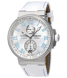 Ulysse Nardin Marine Chronometer Manufacture White MOP Dial Diamonds Automatic Ladies Watch