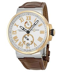 Ulysse Nardin Marine Chronometer Silver Dial Brown Leather Men's Watch