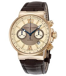 Ulysse Nardin Maxi Marine Automatic Chronograph Ivory Dial 18kt Rose Gold Men's Watch