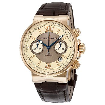 Купить часы Ulysse Nardin Maxi Marine Automatic Chronograph Ivory Dial 18kt Rose Gold Men's Watch  в ломбарде швейцарских часов