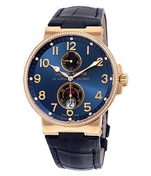 Ulysse Nardin Maxi Marine Automatic Chronometer Blue Dial Diamond 18kt Rose Gold Men's Watch