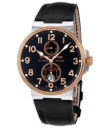 Ulysse Nardin Maxi Marine Black Dial Diamond Stainless Steel and 18K Rose Gold Automatic Men's Watch
