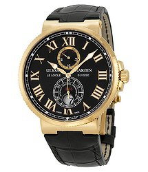 Ulysse Nardin Maxi Marine Chronometer Black Dial 18kt Rose Gold Leather Men's Watch