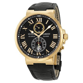 Купить часы Ulysse Nardin Maxi Marine Chronometer Black Dial 18kt Rose Gold Leather Men's Watch  в ломбарде швейцарских часов