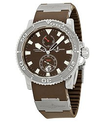 Ulysse Nardin Maxi Marine Diver Brown Dial Brown Rubber Men's Watch 263-33-3-95