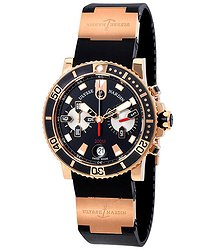 Ulysse Nardin Maxi Marine Diver Chronograph Black Dial 18 Carat Rose Gold Case Black Rubber Band Men's Automatic Watch
