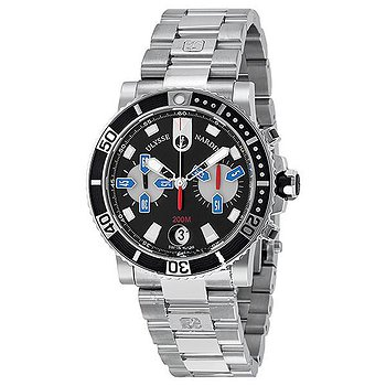 Купить часы Ulysse Nardin Maxi Marine Diver Chronograph Black Dial Stainless Steel Men's Watch 8003-102-7-92  в ломбарде швейцарских часов