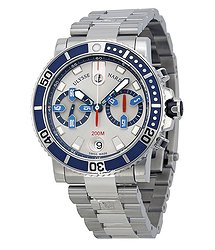 Ulysse Nardin Maxi Marine Diver Silver Dial Chronograph Stainless Steel Automatic Men's Watch 8003-102-7-91