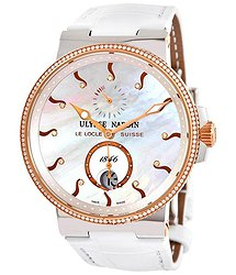 Ulysse Nardin Maxi Marine Mother of Pearl Diamond Dial Automatic Ladies 18kt Rose Gold Watch