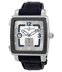 Ulysse Nardin Quadrato Dual Time Silver Dial Black Leather Automatic Men's Watch 243-92CER-601
