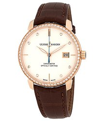 Ulysse Nardin San Marco Classico Ivory Dial 18kt Rose gold Diamond Brown Leather Men's Watch 8156-111B-2-991