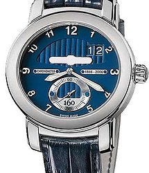 UN Anniversary 160 Blue Dial 18Kt White Gold Blue Leather Men's Watch 1600-100