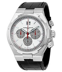 Vacheron Constantin Overseas Automatic Chronograph Silver Dial Black Leather Men's Watch
