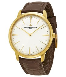Vacheron Constantin Patrimony Grand Taille Manual Wind Silver Dial Brown Leather Men's Watch 81180000J-9118